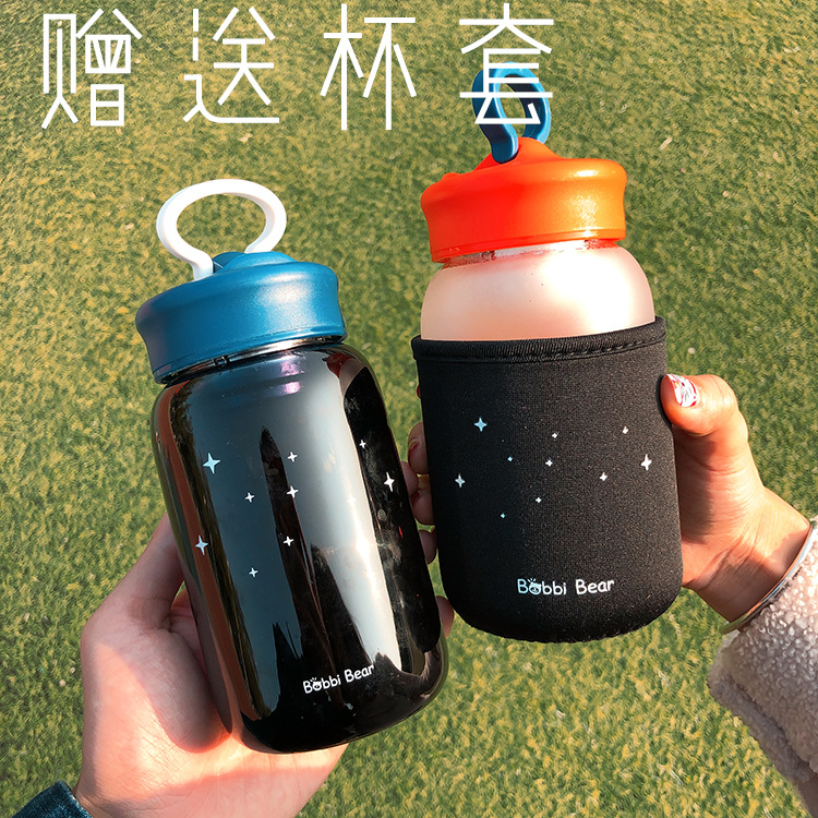 Cute water cup frosted hand cup female student portable tea cup holder heat-resistant glass cup NHtn203953