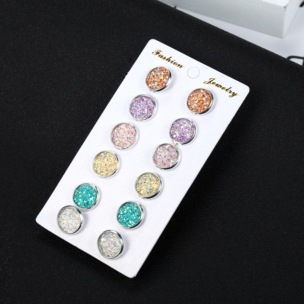 Simple colorful round frosted dream star stud earrings NHPF151988