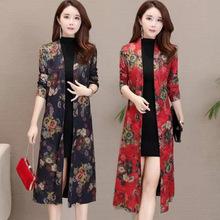 东南亚欧美外贸新款女装秋季中老年开衫披风中长款上衣女外贸批发