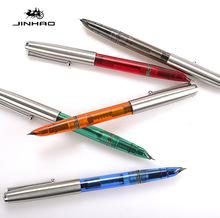 批发金豪新款复古木质钢笔办公书写特细铱金笔透明经典款墨水笔