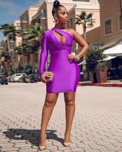 2019歐美跨境女裝外貿亞馬遜性感時尚露單肩袖不規則斜肩連衣裙