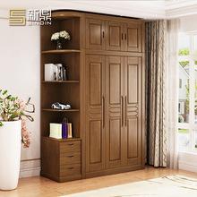 新鼎中式實木衣柜整體2345門木質收納衣櫥組合拼接組裝出租屋衣柜