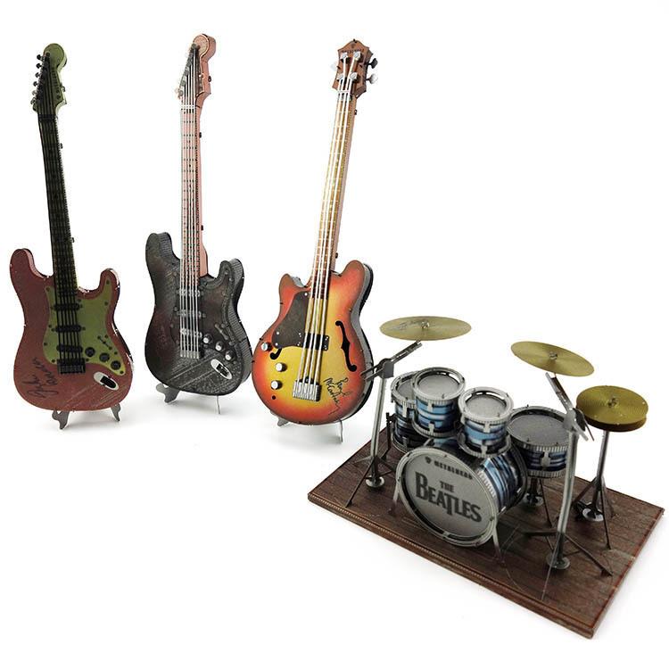 爱拼3D金属拼装模型DIY拼图彩色乐器钢琴吉他架子鼓大提琴模型