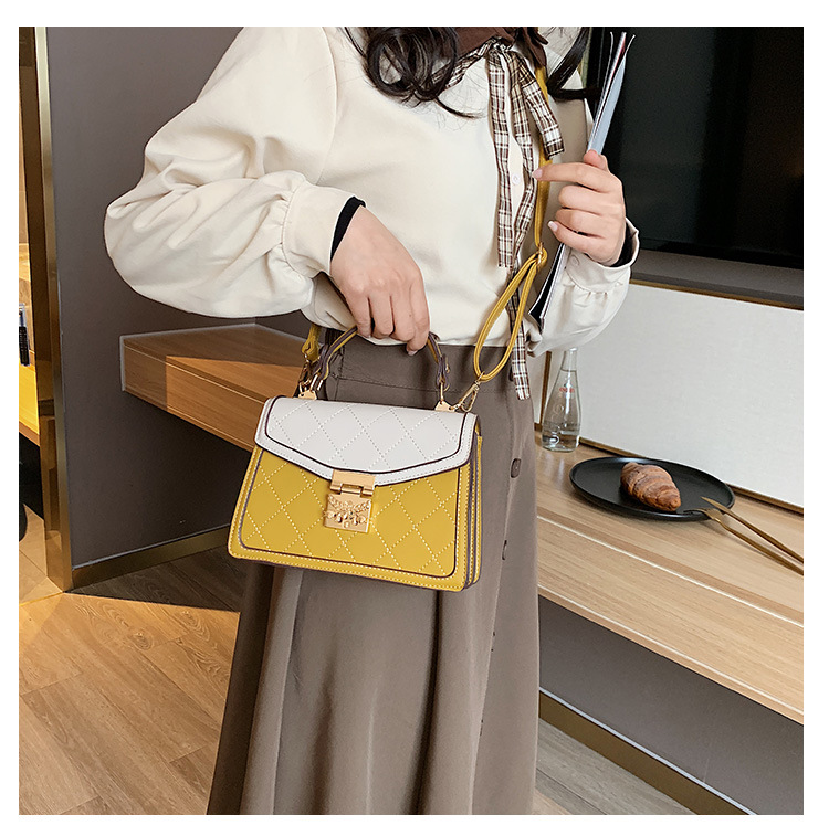hit color casual rhombus embroidery thread bag NHJZ316388