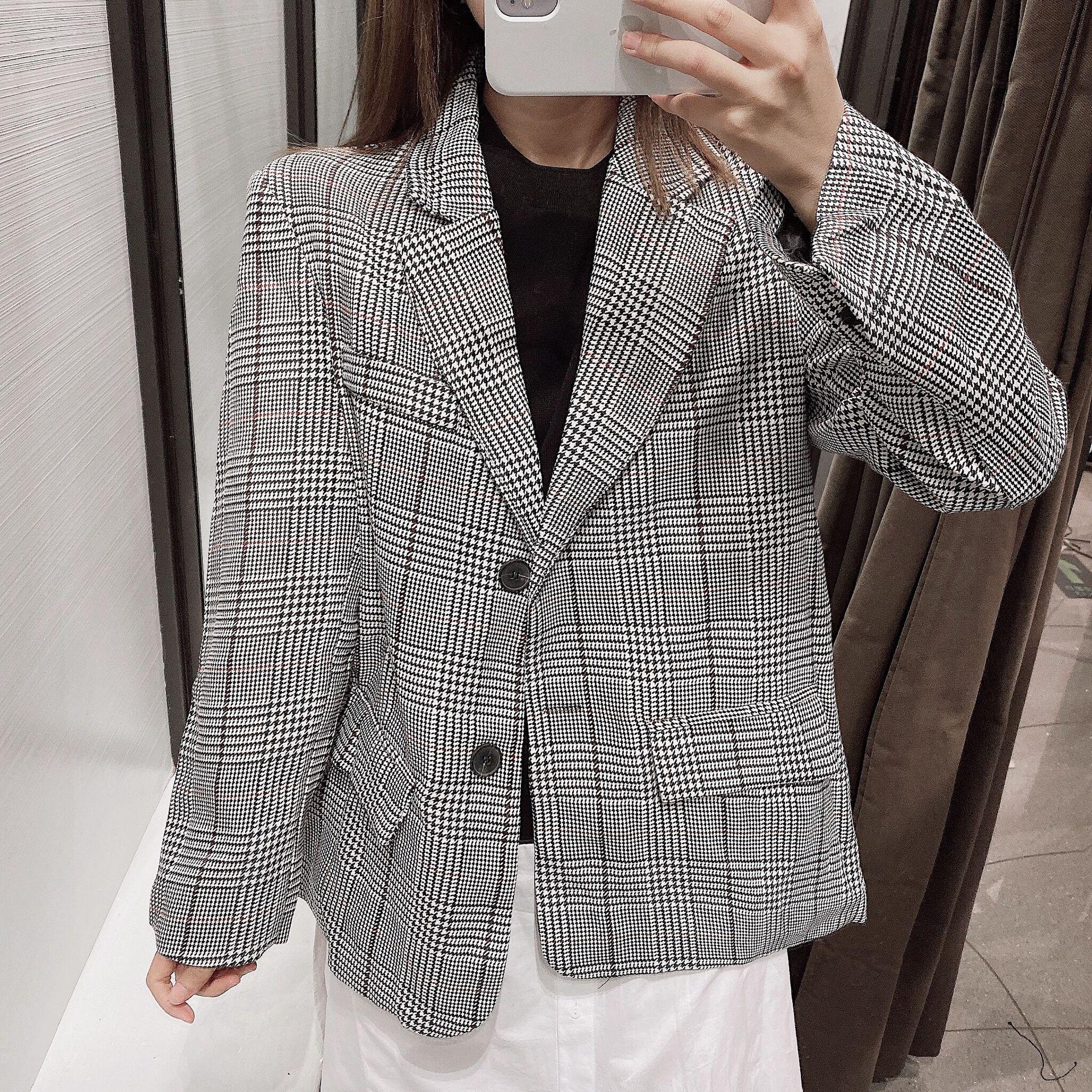 Plaid Loose Shoulder Houndstooth Suit Blazer NHAM158445