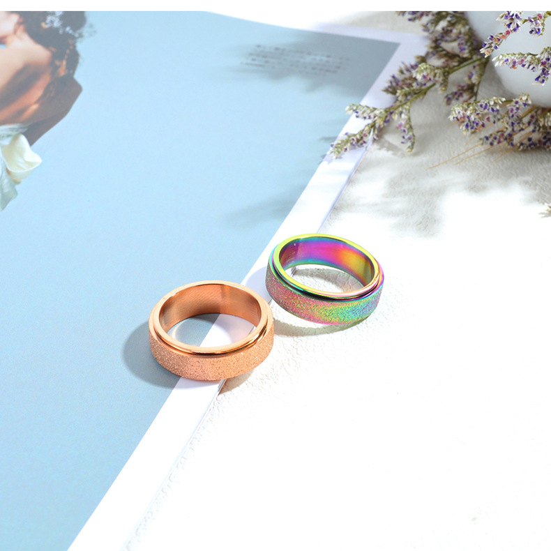Colorful titanium steel ladies ring stainless steel matte rotatable ring NHOP172214