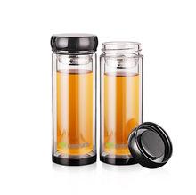 批发高硼硅保温双层玻璃杯促销广告杯礼品杯定制水晶杯黑底锣鼓盖