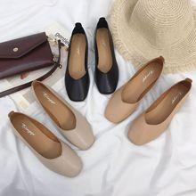 2019春季新款方头粗跟中跟复古奶奶鞋单鞋韩版女鞋高跟鞋舒适韩流