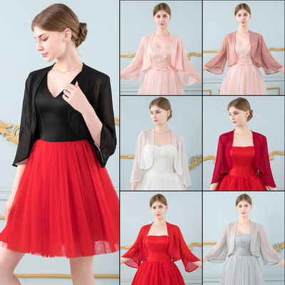 European and American chiffon long-sleeved shawl evening wedding party dress cape retro Chinese cardigan bride black red arm shoulder cover
