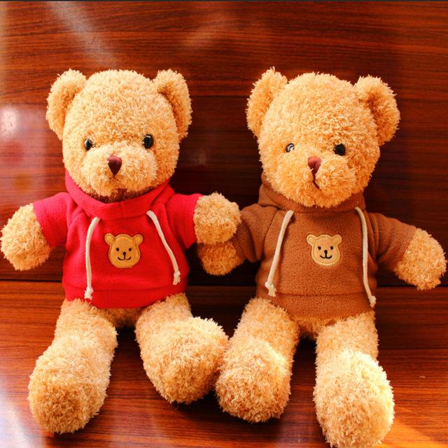 新款英伦卫衣短毛绒泰迪熊公仔毛绒玩具录音熊情侣节日女生礼物