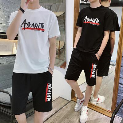 2019夏季男士休闲运动短袖套装男式印花短袖T恤短裤两件套时尚潮