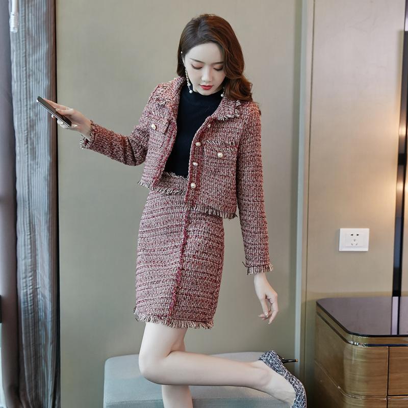 秋冬新款2019名媛小香风套装粗花呢流苏短外套半身裙短裙两件套女