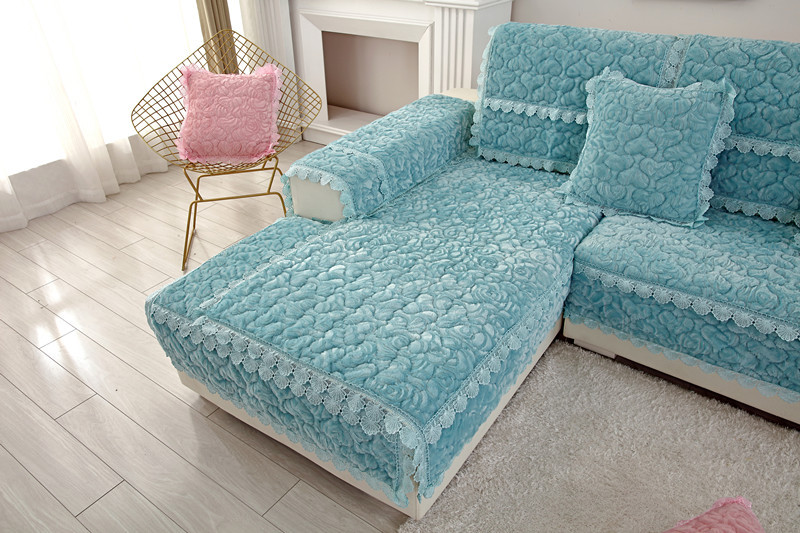 Thick Slip Resistant Couch Cover for Corner Sofa Made with Plush Fabric Including Lace for Living Room Decor 26