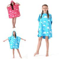 Детское банное полотенце, быстросохнущий халат, пляжное купальное полотенце, банное полотенце с капюшоном для мальчиков и девочек, впитывающее дорожное пляжное полотенце
