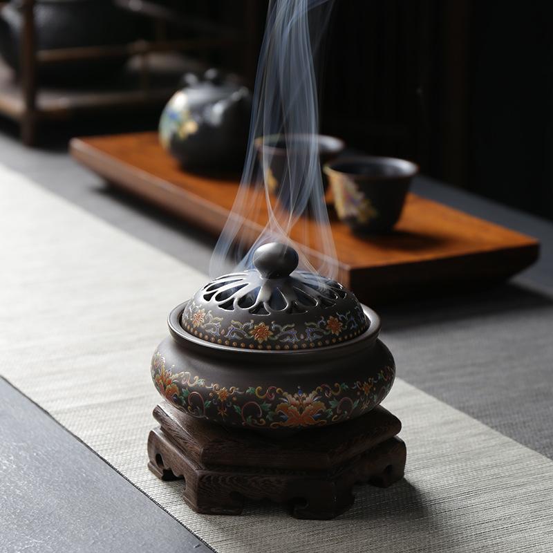 陶瓷蓝香炉工艺品摆件倒流香薰炉创意家居居室香插香道珐琅彩新款