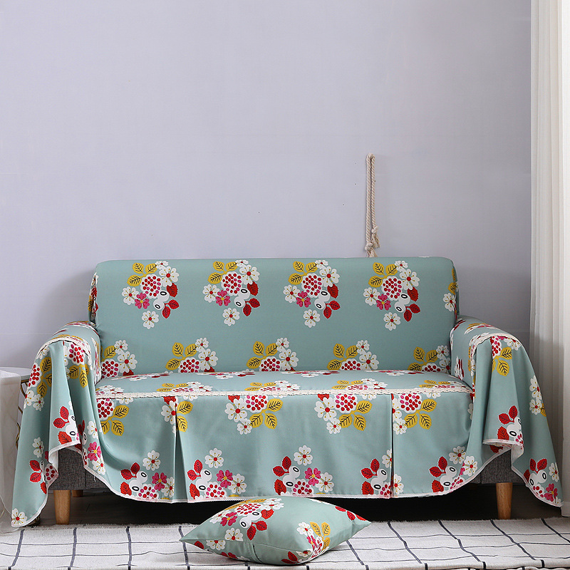 Comfortable plant print sofa cover towel slipcover cushion for multiple seats NHSP134615