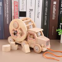 顶牛宝宝原木汽车拖车玩具图片