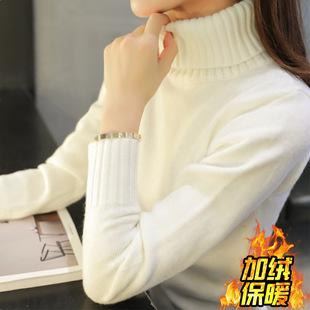 加厚加绒毛衣女秋冬2020新款高领套头长袖针织衫双层领打底衫厂家