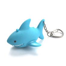新品鲨鱼LED发声发光手电钥匙扣展会书包玩具挂件小礼品