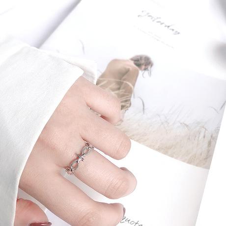 S925 sterling bạc chéo xoắn nhẫn Hàn Quốc Dongdaemun xu hướng tính khí nữ phần ngón tay nhẫn nhẫn nhẫn trang sức Nhẫn