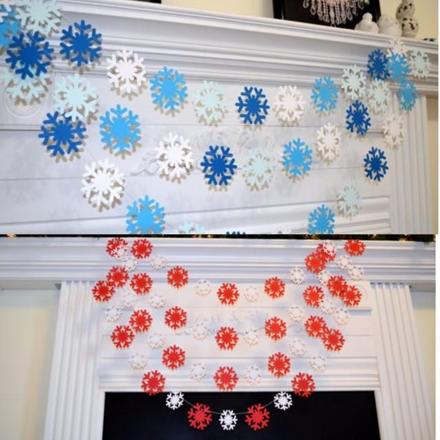 圣诞节新年立体雪花串片挂饰店铺橱窗走廊门窗装饰布置拉花拉条