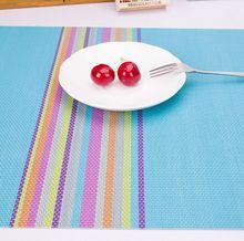 廚房彩虹PVC餐墊 簡約歐式風格布藝隔熱餐具餐墊 桌墊杯墊隔熱墊