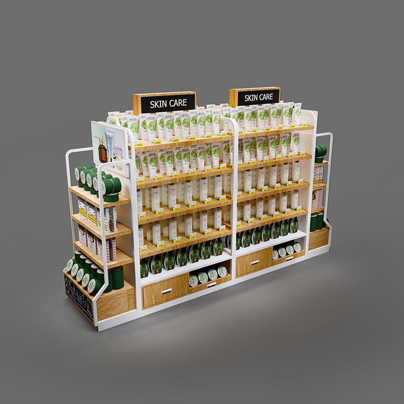 化妆品展示柜钢木结合展示柜超市陈列组合