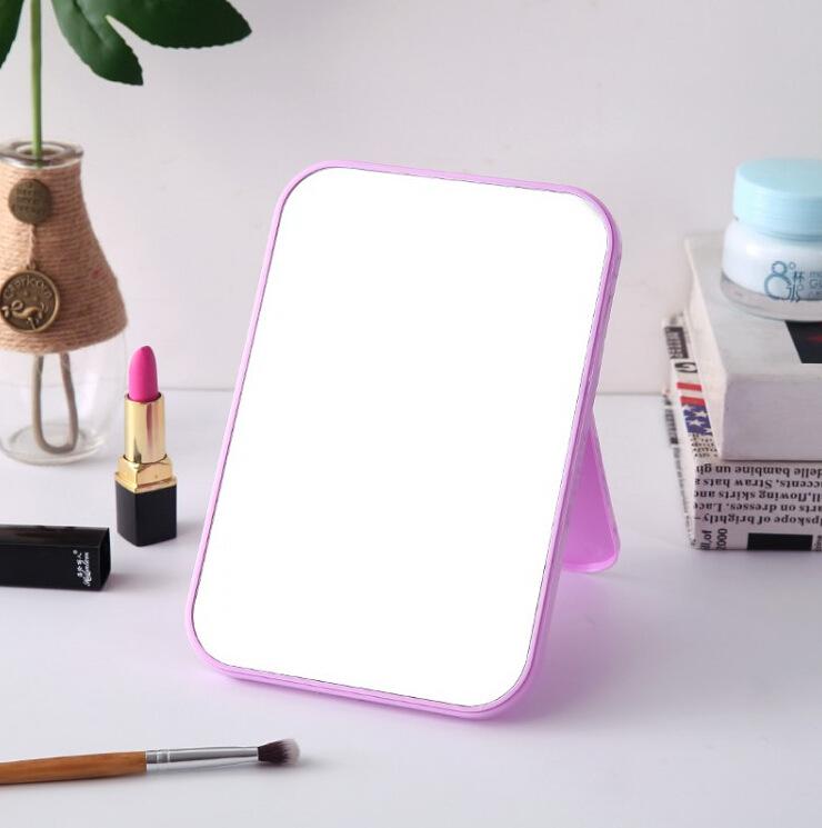 HD ماكياج من جانب واحد مرآة سطح المكتب مرآة بلاستيكية ملونة الغرور ، قابلة للطي المحمولة مرآة أميرة مربعة كبيرة