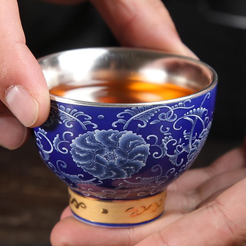 珐琅彩陶瓷银茶杯纯银999正品功夫手工鎏银主人喝茶品茗杯小茶杯