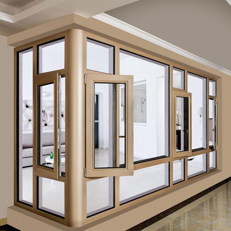 铝合金门窗平开窗  封阳台85/108断桥隔热中空玻璃静音窗定制批发