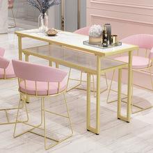 北欧创意大理石美甲桌 网红双人美甲桌椅套装简约双层化妆桌子