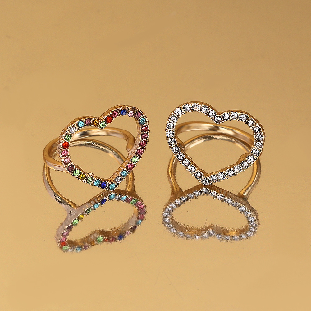 Heart-shaped ring with alloy diamonds NHJQ187816