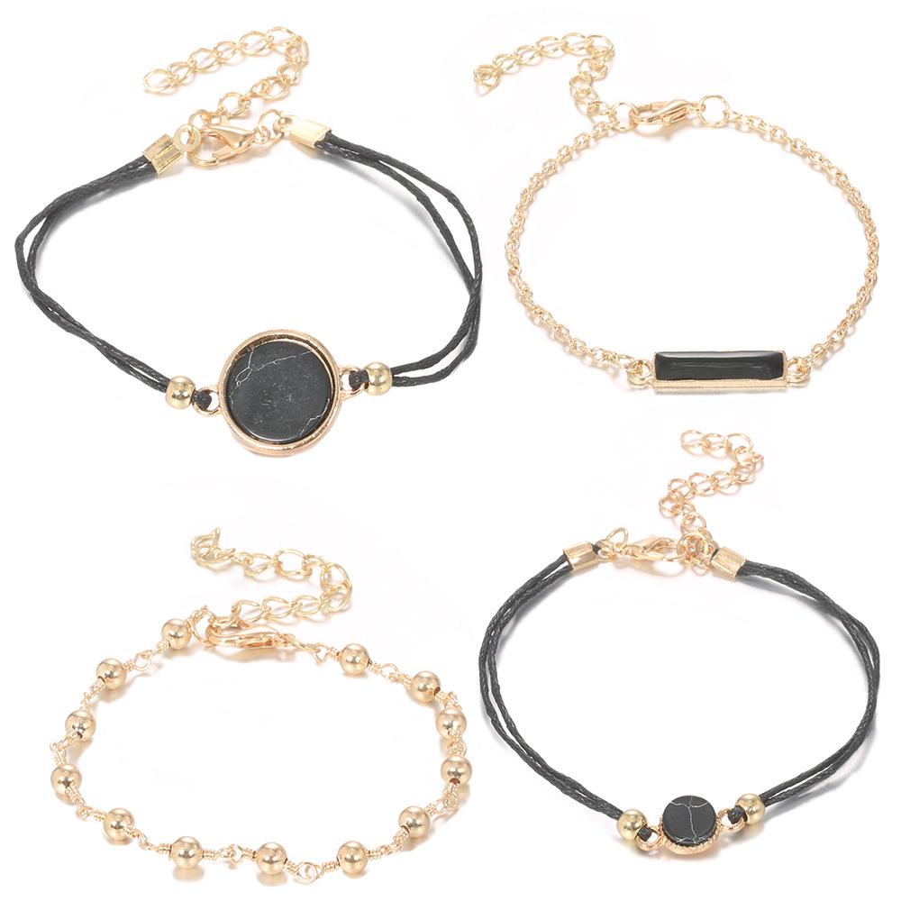 Compass Totem Black Hexagon Diamond Heart Beaded Pendant Bracelet Sets NHMO355139