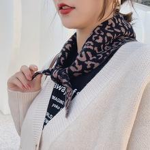 新款围巾女秋冬季韩国东大门豹纹毛线针织三角巾装饰百搭围脖披肩