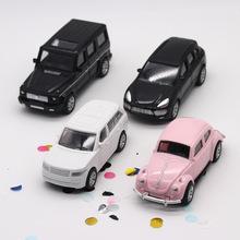蛋糕摆件塑料回力车奔驰车模型越野回力车儿童粉色老爷车玩具装饰
