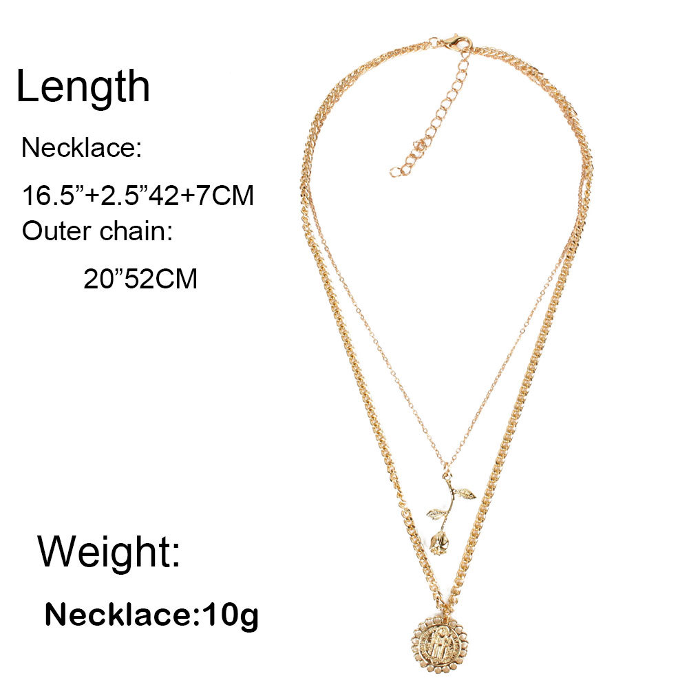 Jewelry personality trend multi-layer metal alloy flower pendant necklace female NHCT173220