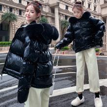 2019冬新款時尚韓版大碼亮面短款學生面包服外套兩面穿氣質棉服潮