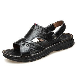 ស្បែកជើងបុរស Men Casual Sandals Leather Thick Soled Top Layer Shoes PZ724580