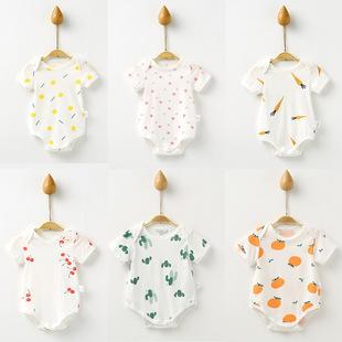 Ребенок пакет пердеть одежда тонкий летний новорожденный младенец одежда короткий рукав ползунки треугольник подъем ребенок купальник из одежда