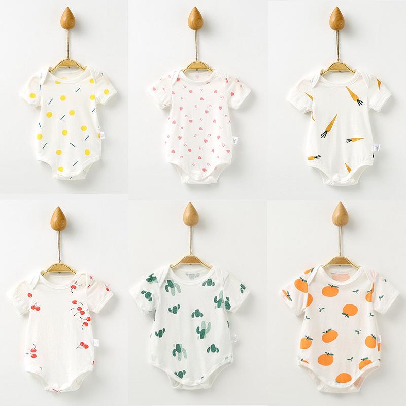 婴儿包屁衣夏季薄款新生幼儿衣服短袖哈衣三角爬宝宝连体衣外出服