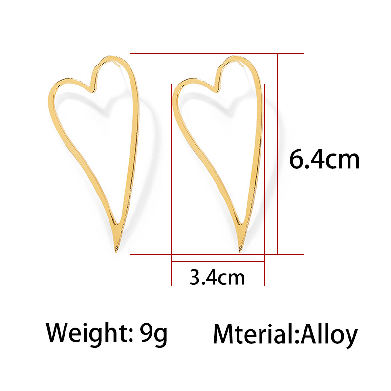 Fashion pierced love heart-shaped metal earrings NHCU146641