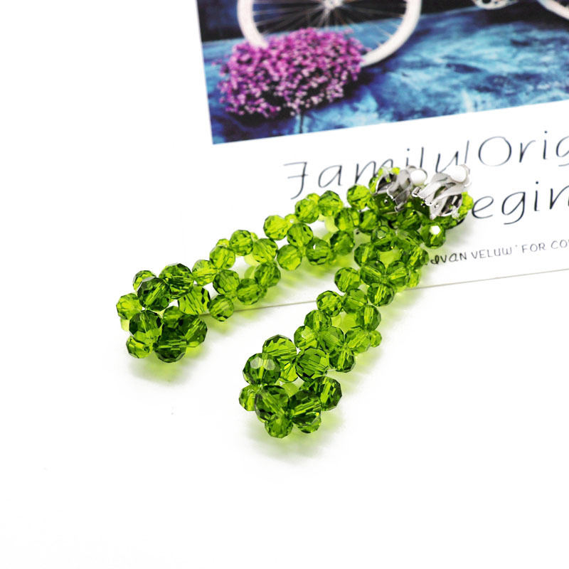 Fashion woven glass beads imitated crystal beads long woven flower ear clip NHOM148007