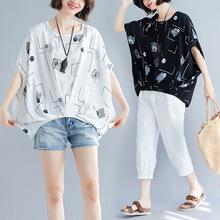 2019夏季新款加肥加大码女装文艺复古印花蝙蝠袖宽松棉麻T恤上衣