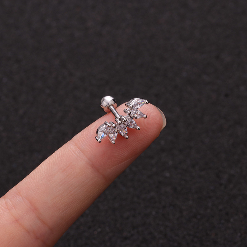 Hot Selling Zircon  Stainless Steel Ear Bone Nails  Micro Inlaid Sunflower Screw earrings  Wholesale NHEN253448