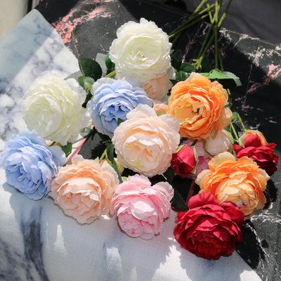 货源仿真牡丹花假花3头洋欧式牡丹绢花玫瑰花束婚庆装饰影楼布置批发批发