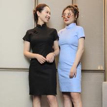 少女年轻款中国风纯色黑色显瘦棉亚麻弹力气质性感时尚日常短旗袍