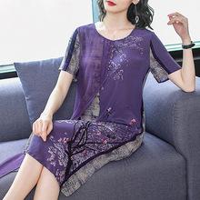 中国风改良旗袍汉服女2019夏装新款复古宽松假两件印花连衣裙子