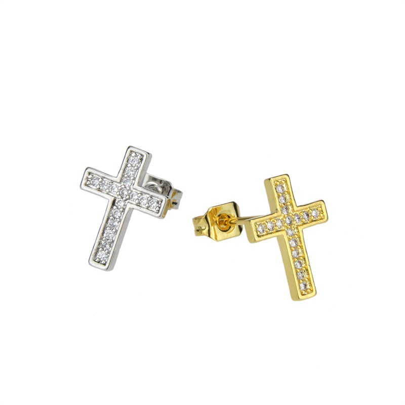 Cross Ear Stud Necklace Set Gold Plated Platinum Plated Small Zircon Pendant Ear Pins NHBP184613