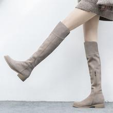 秋冬圆头过膝长靴磨砂平底杏色长筒百搭全牛皮卡其色粗跟真皮女靴