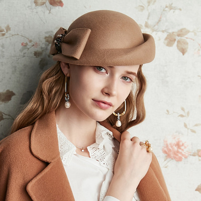 Party hats Fedoras hats for women Clothing season customized woolen cloth versatile British hat retro high end women Felt Hat Beret